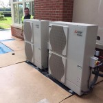 2 x 11.2 KW Mitsubishi Air Source Heat Pump Units